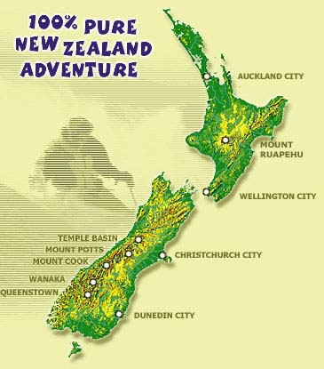Map of New Zealand including Queenstown and Wanaka